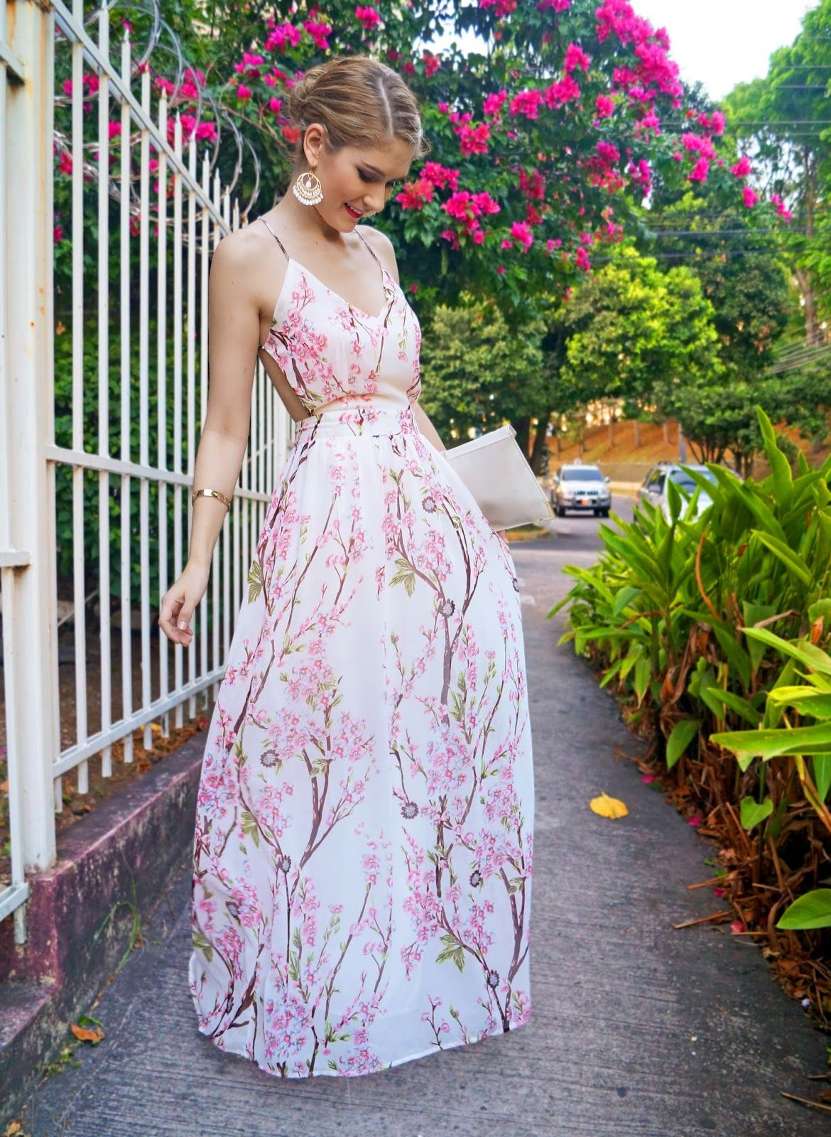 a5d3b6b37b Cherry Blossom Maxi Dress, so pretty but I'd change the top a little so it  covered my side more.