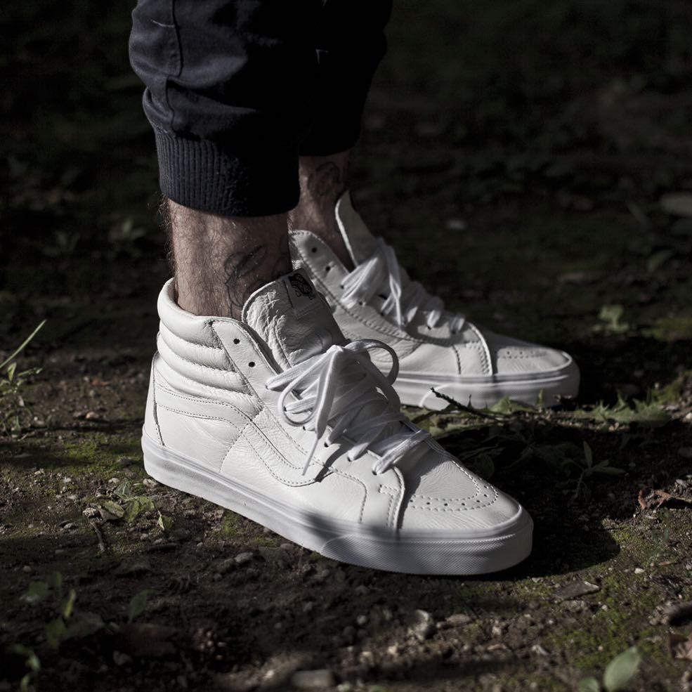 vans skate hi white leather