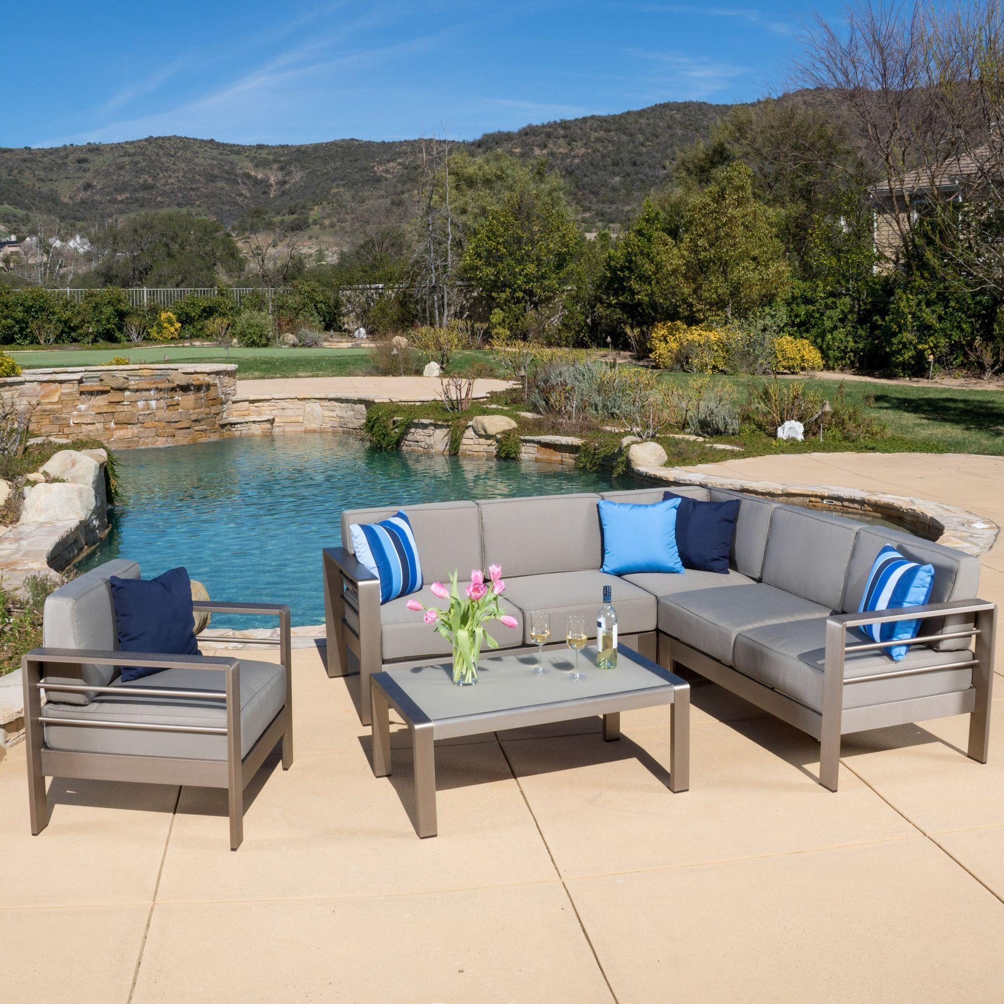 Allen 5 Piece Outdoor Modern Aluminum Sectional Sofa Set Outdoor