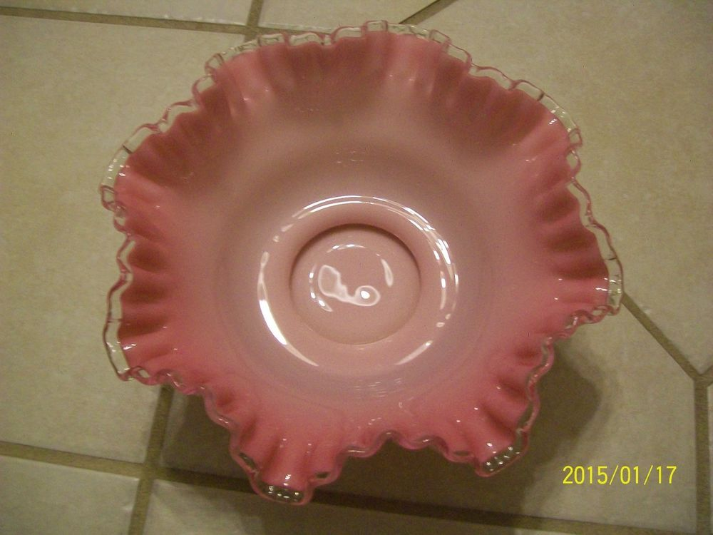 Up for sale is this double ruffled silver crest pink bowl. I believe it is a Fenton piece. I see no chips or cracks, but it does have one tiny rough spot on the edge. It would be a wonderful piece to add to your collection or as a gift. | eBay!