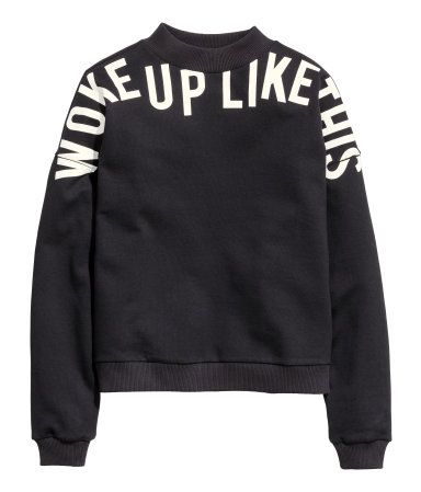 Text print sweatshirt with dropped shoulders and long