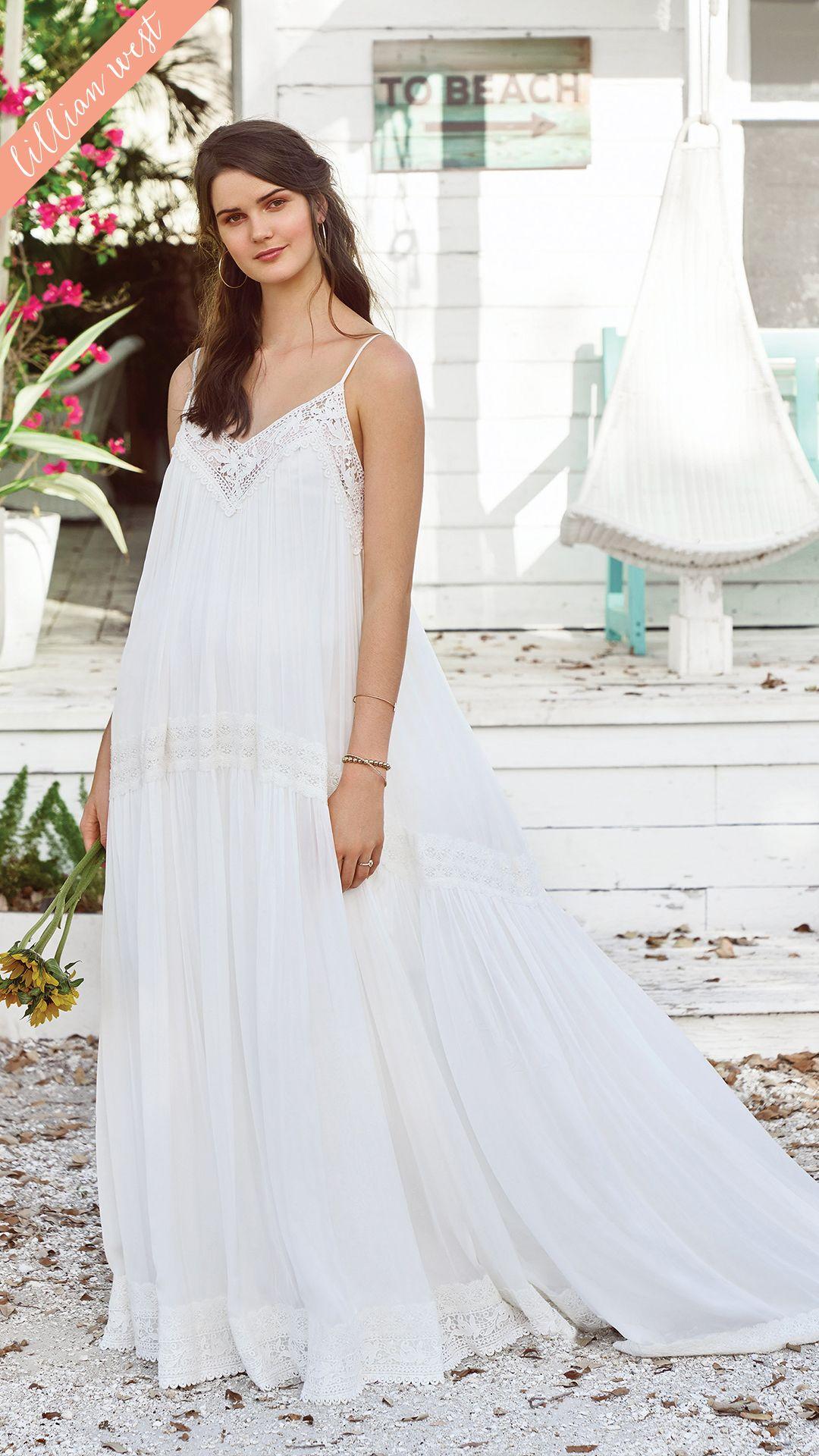 Style 66034 V Neck Spaghetti Strap Babydoll Dress Lillian West Wedding Dress Chiffon Wedding Gowns Wedding Gown Gallery