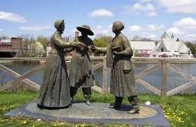 Statues of Susan B. Anthony, Elizbeth Cady Stanton and Lucretia Mott (Women's Rights Activists) overlook VanCleef Lake in Seneca Falls.