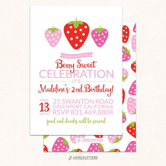Strawberry Birthday Invitation / Berry Birthday / Digital /