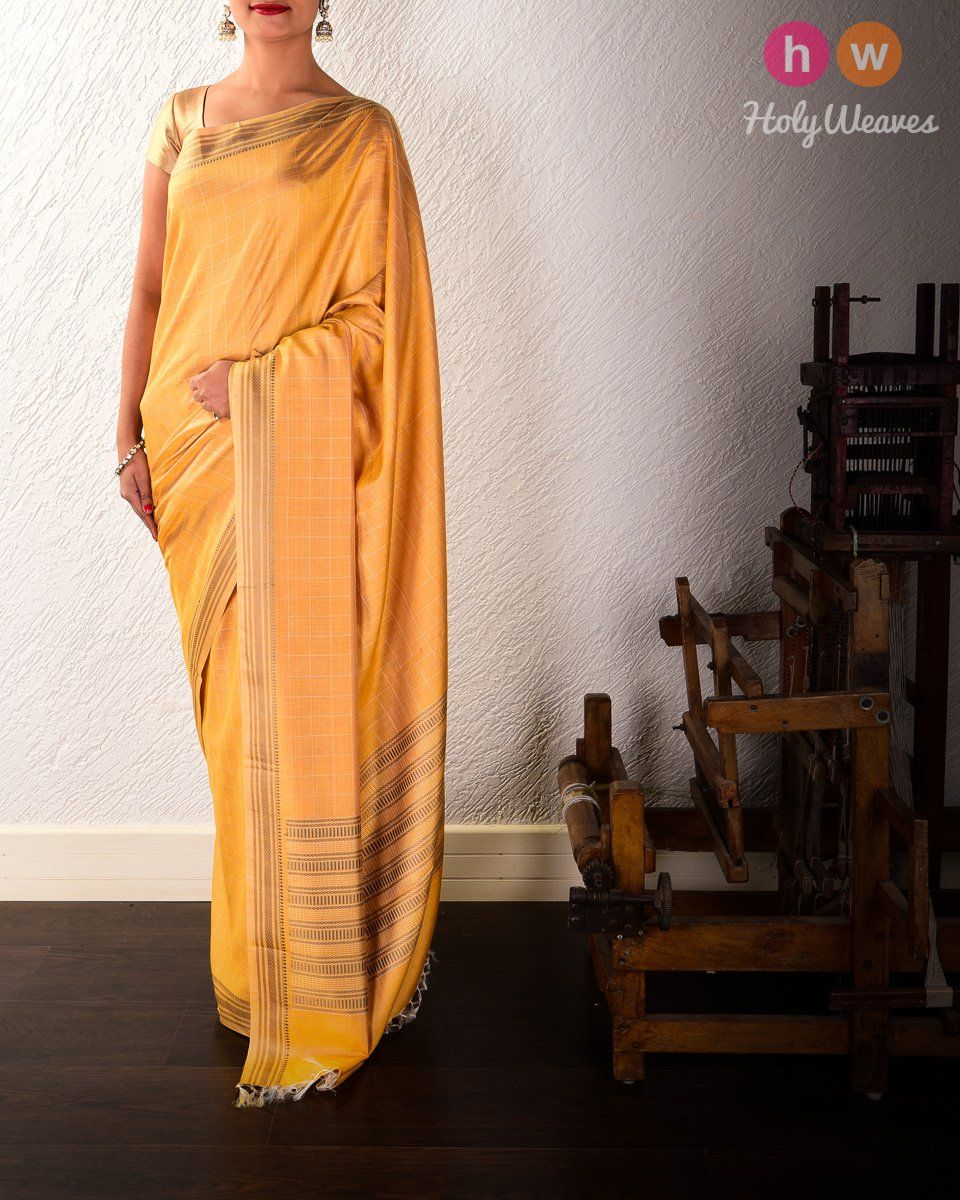 Mustard Yellow Chequered Kadhuan Brocade Handwoven Tasar Muga Silk Saree with Khapa Pallu  #Handwoven #Saree #Brocade #Handloom #Kashi #Varanasi #India #Sari #Banaras
