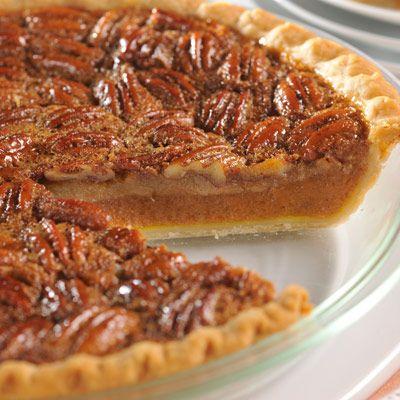 Pumpkin Pecan Pie - The blending of two classic Thanksgiving dessert recipes into one mega dessert!