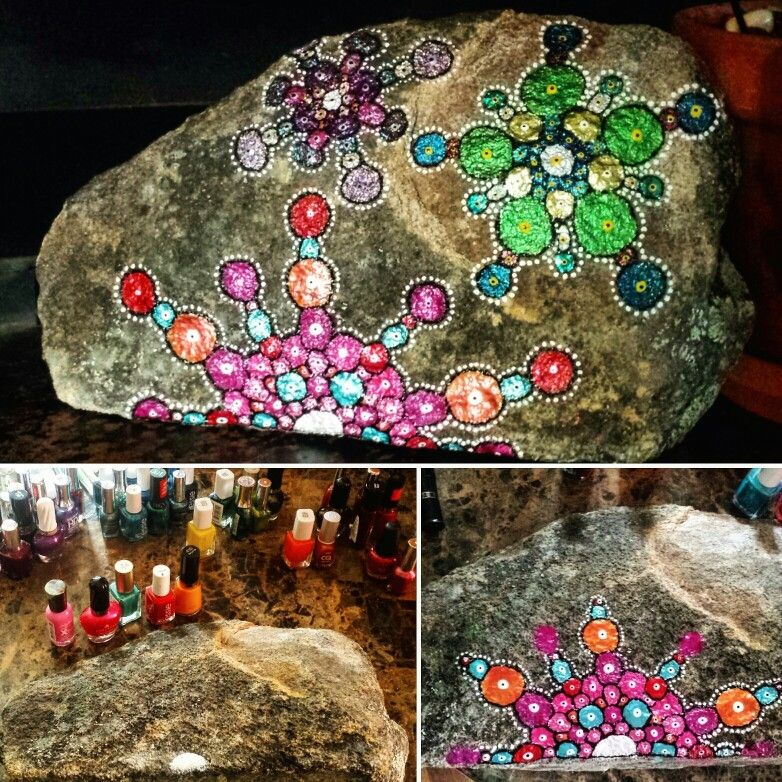 Diy bohemian style painted rock done with nail polish