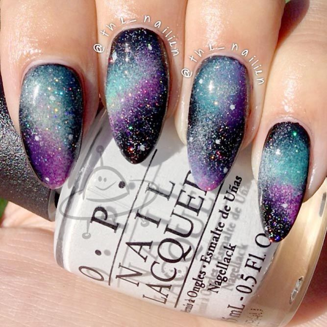 24 Ideas Of Galaxy Nails You Need To Copy Immediately Purple Nails Galaxy Nail Art Galaxy Nails