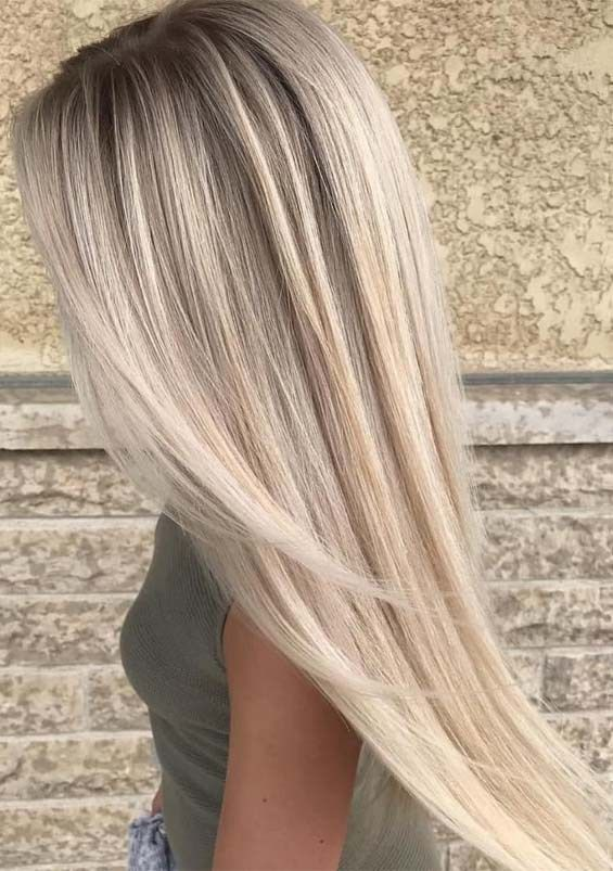 Contemporary Platinum Balayage Hair Colours for Lengthy Straight Hair in
