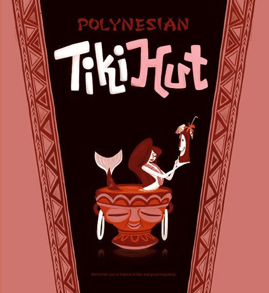 Tiki Hut, Tiki Mug Poster,Hawaiian, Mid Century Modern Art Print Poster Vintage…