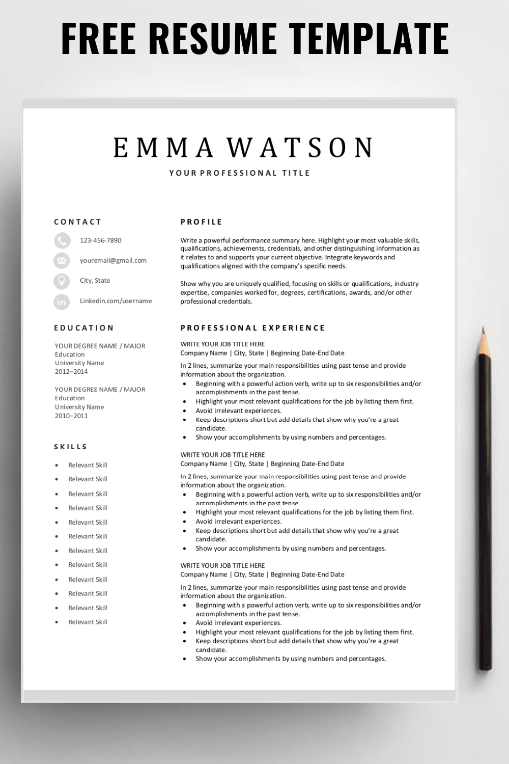 Looking For A Free Editable Resume Template Sign Up For Our Job Search Tips And Downloa Free Printable Resume Templates Resume Template Free Printable Resume