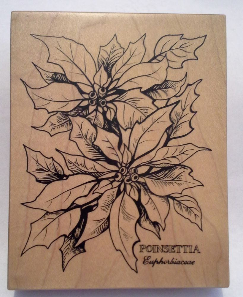 Large Rubber Stamp Christmas Poinsettia K-784 never used PSX ...