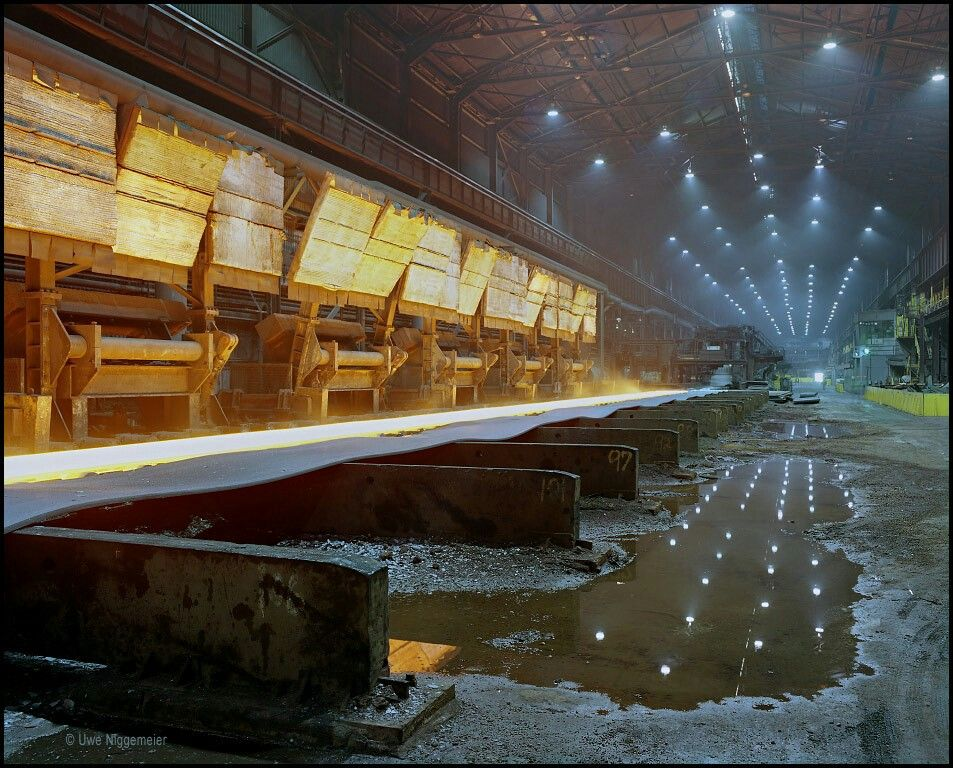 Kühlbett, Cooling bed.  ArcelorMittal, Indiana Harbor.