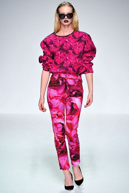 Katie Eary A/W 2013-14 #fangs #black #lipstick #fuchsia #roses #pop #decadent #LondonCollections