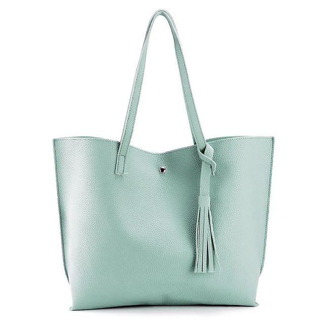 Artificial leather hand bag female tassel handbag woman new arrival rivet  new big shoulder bag 2017 designer ladies totes d68748be57df1