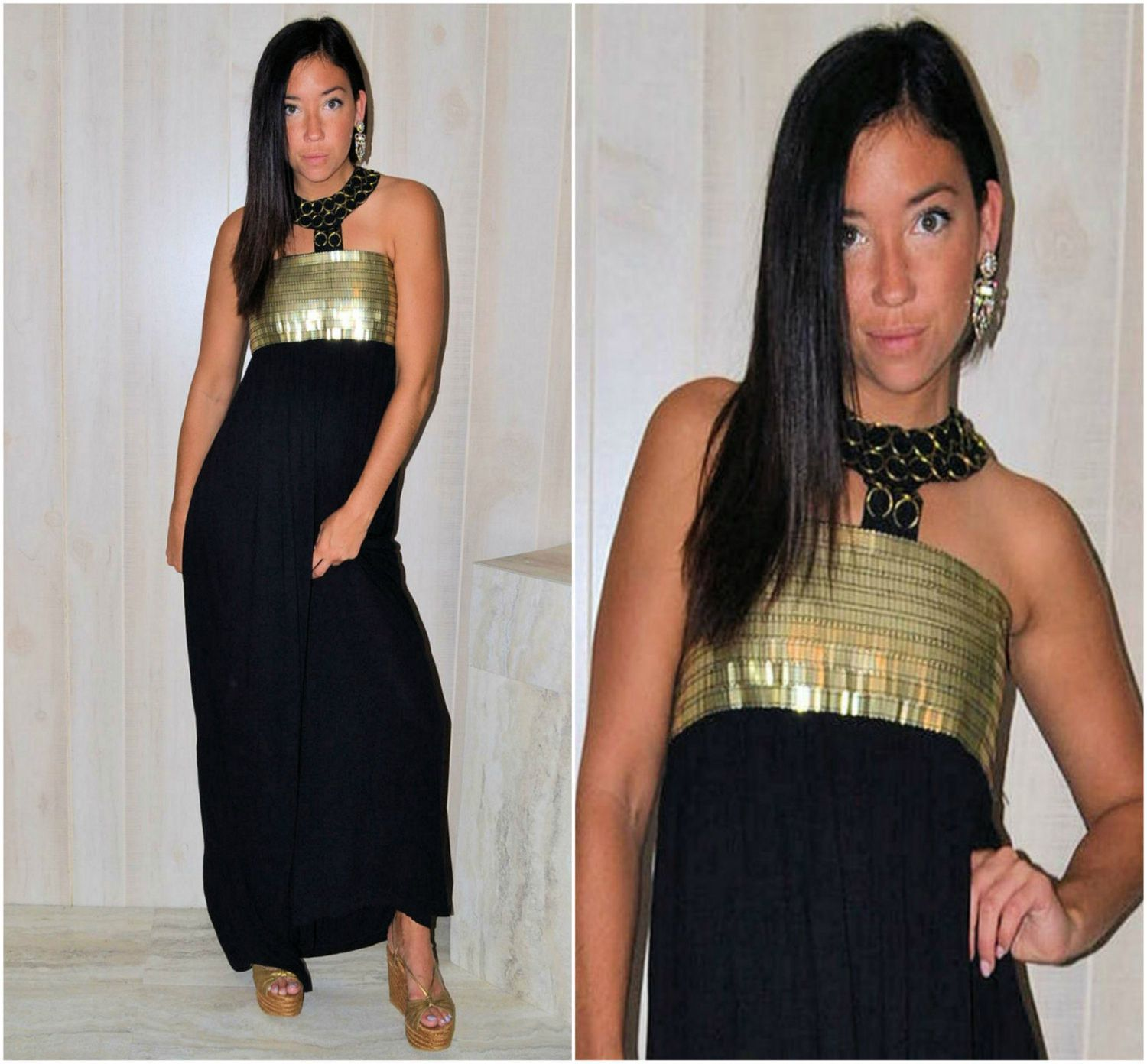 Black and gold maxi dress black embellished long dress vintage us