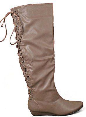 Gomax Agatha 12 Knee High Womens Boots Taupe Size 6 ~