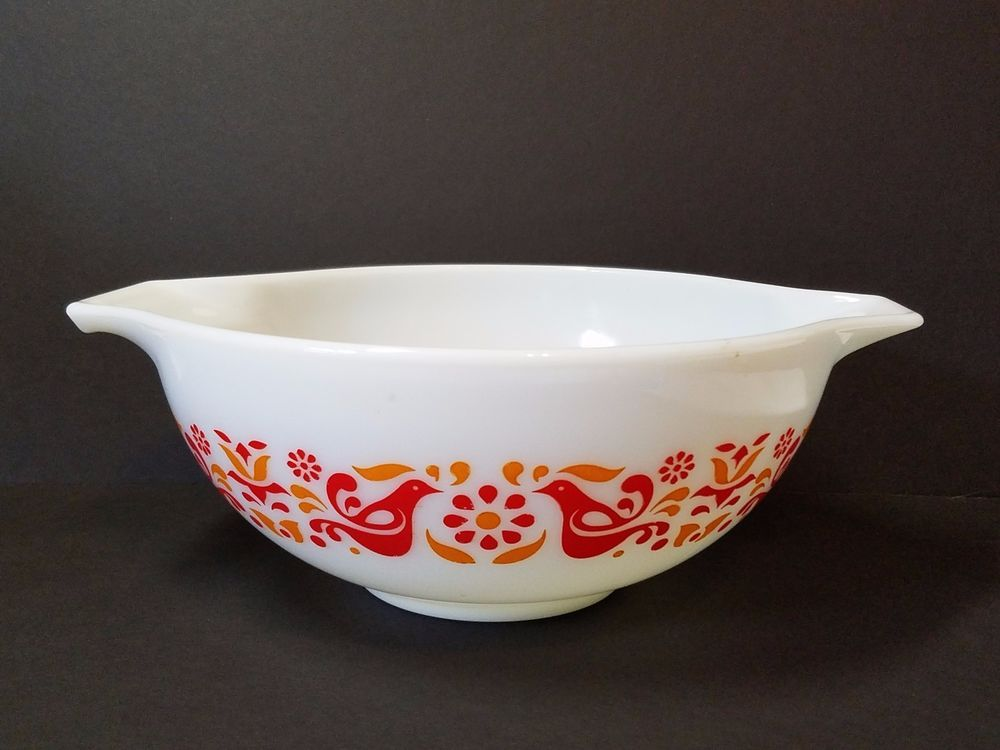 Vintage Pyrex Friendship Birds Cinderella Mixing Bowl Orange Red 443 ...