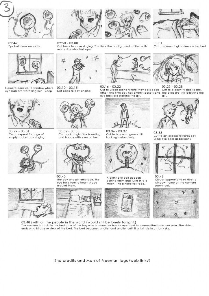 Storyboard for the Hints From My Eyes music video animation - vertical storyboard