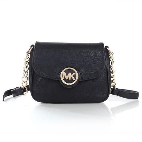 81a4f0131104 Cheap Michael Kors Fulton Leather Small Black Crossbody Bags Clearance