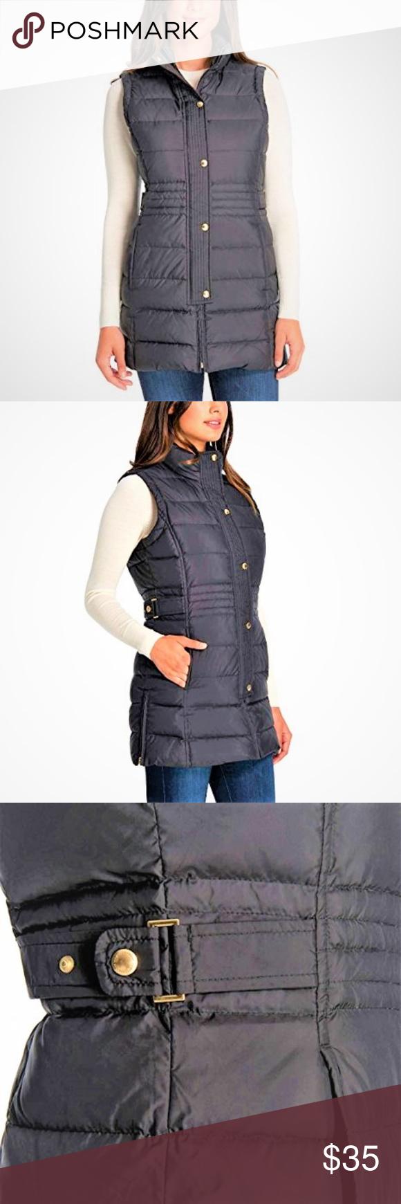 70ed974b11050 Weatherproof Women s Long Down Fill Puffer Vest Weatherproof Ladies  Long  Down Vest for Women ~Navy Blue ~ Down Fill Shell  100% Polyester Fill  60%  ...