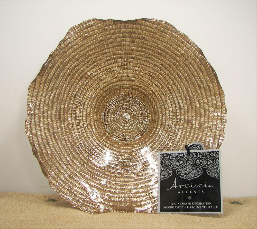 Artistic accents handmade turkish glass gold bowl genuine