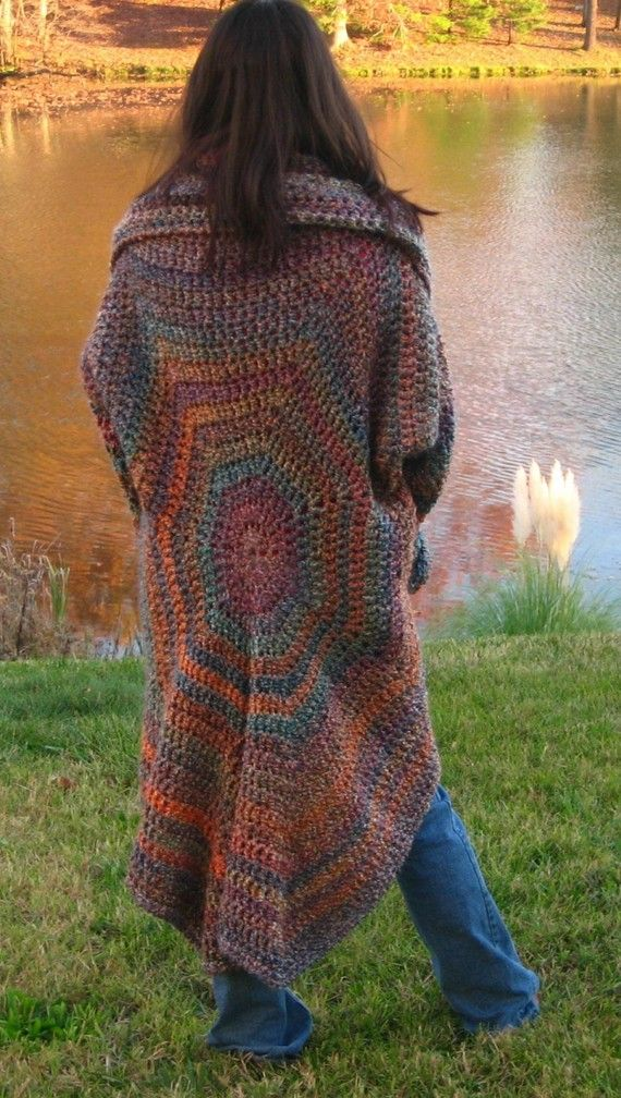 Gestricken Pullover Mantel in Painted Desert von CrochetRoanoke ...