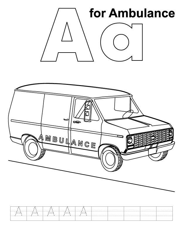 A For Ambulance Coloring Page With Handwriting Practice Cars Coloring Pages Abc Coloring Kids Handwriting Practice