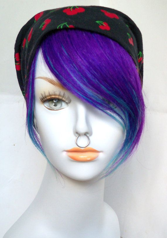 Dark Deep Purple And Teal Turquoise Blue Green Aqua Human Hair Clip In Bang Fringe Extension