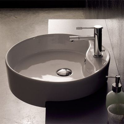 Geo Ceramic Circular Vessel Bathroom Sink With Overflow With