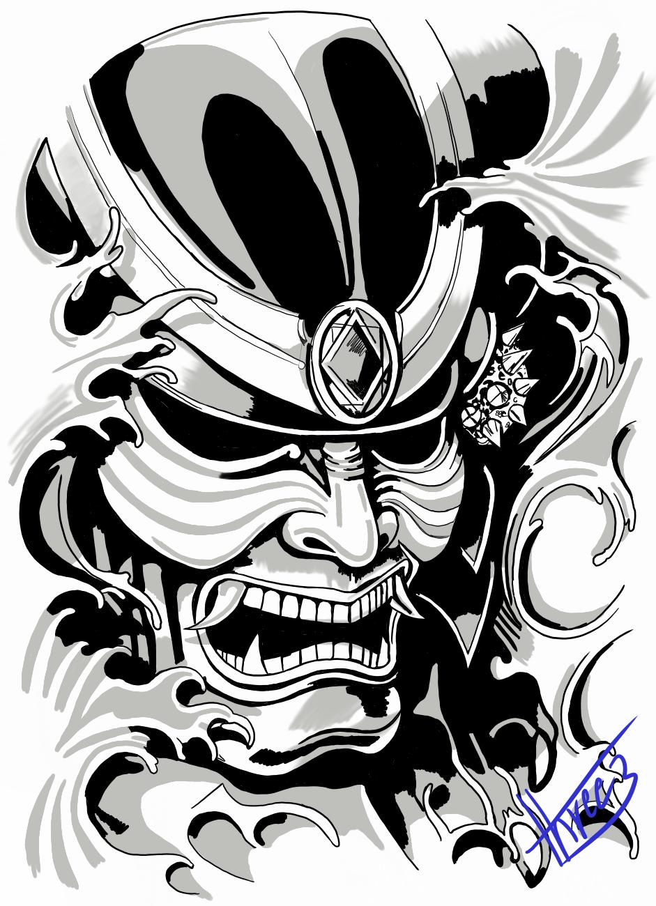 Samurai Mask By Threeharom On Deviantart In 2021 Samurai Mask Tattoo Samurai Tattoo Design Dragon Tattoo Art