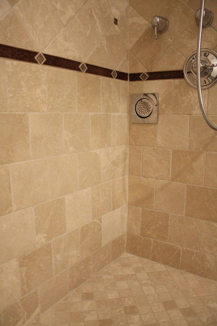 Shower Design Beige Tile And Brown Glass Border Ideas Our