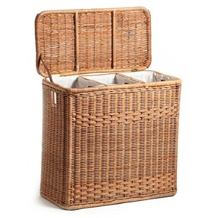 The Basket Lady 3 Compartment Wicker Laundry Hamper One Size Size