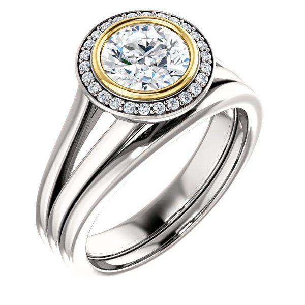 14kt White & Yellow Bezel Set Center Diamond Wedding Set with 1.50CTW-RSD's A. (Available in AA and AAA)