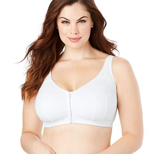 a00fa884174 Comfort Choice Women s Plus Size Cotton Comfort Wireless Front-Hook ...