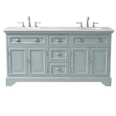 Bon Home Decorators Collection Sadie 67 In. Double Vanity In Antique Blue With  Marble Quartz Vanity Top In White 1666700350   The Home Depot