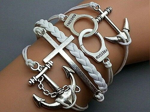 Silver leather bracelets shop at www.cost21.com