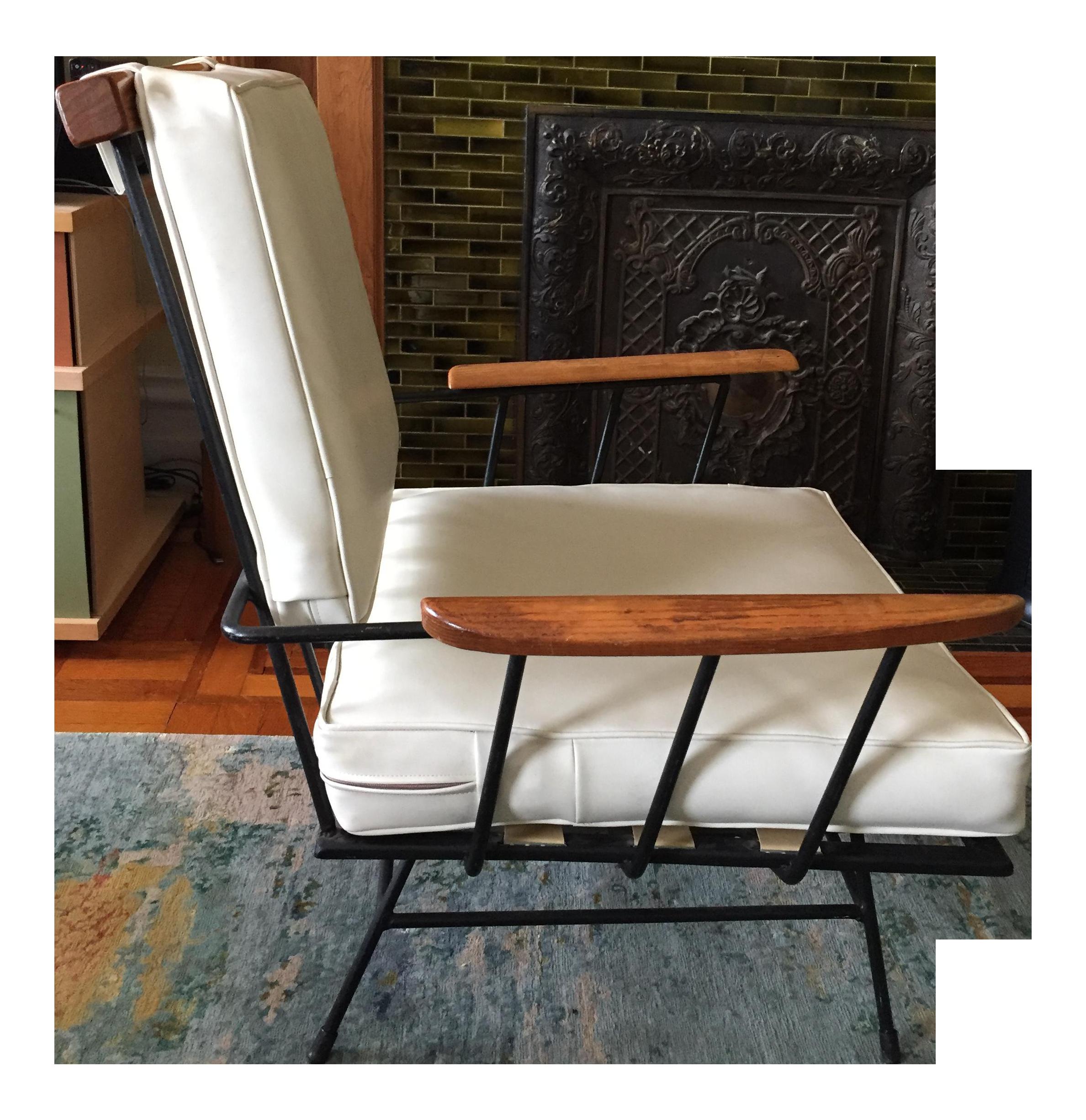 Mid Century Modern Wrought Iron & Wood Chair