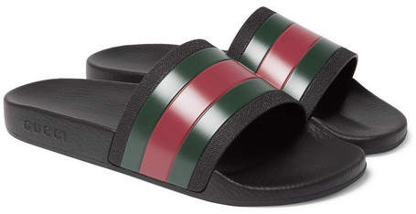 3973a7704fd5 Gucci Striped Rubber Slides