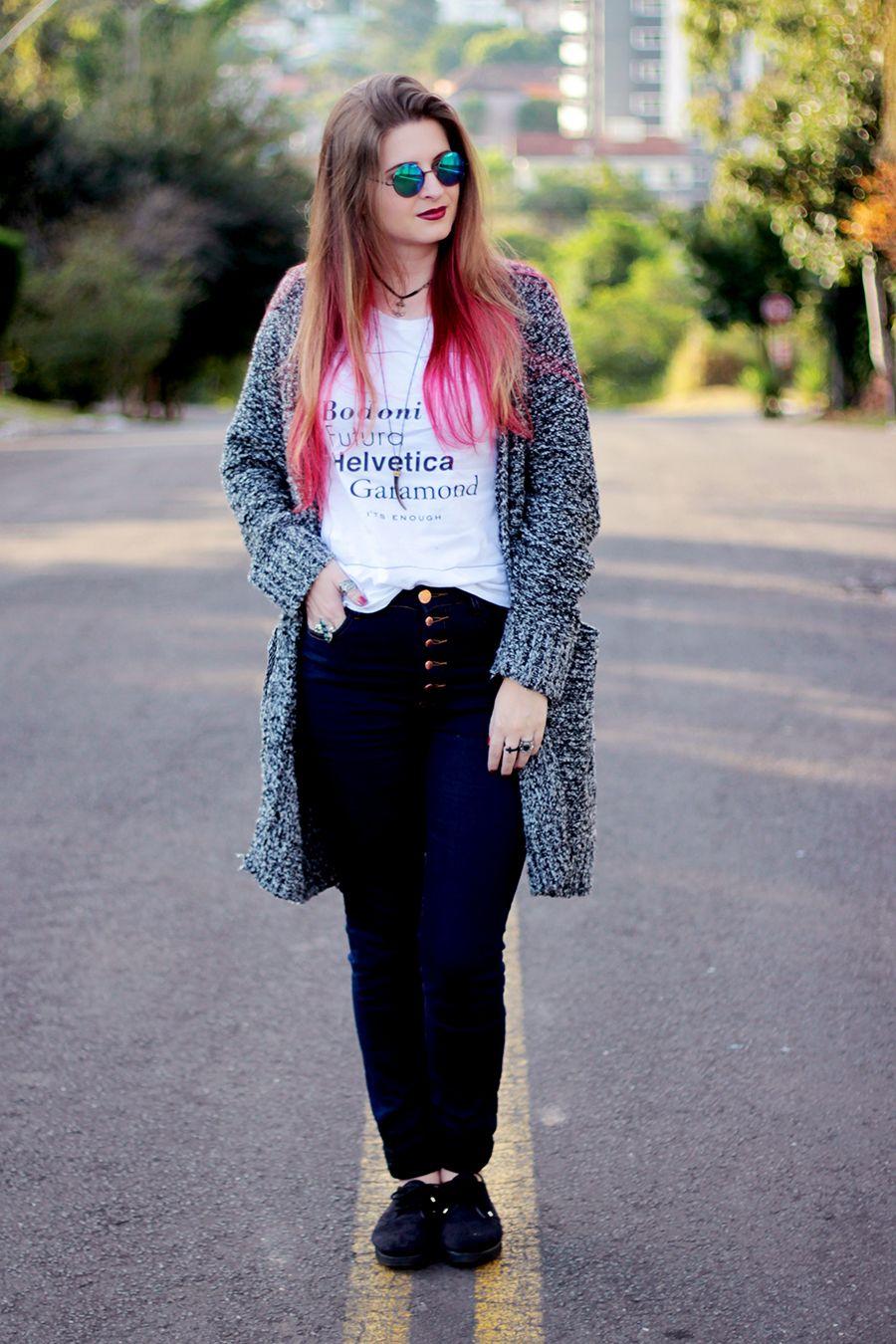 Meninices da Vida: Look Camila Rech: Calça cintura alta, cardigan e creeper