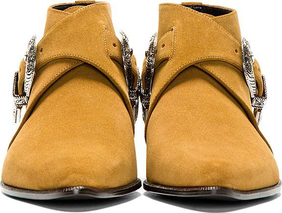 Saint Laurent: Tan Suede Belted Cowboy Boots