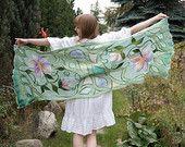 Nuno felted scarf, long mint silk shawl with decorative flowers motif . OOAK