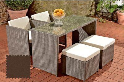 Poly Rattan Balkon Sitzgruppe TAHITI (2 Stühle + 2 Hocker + Tisch 130 X