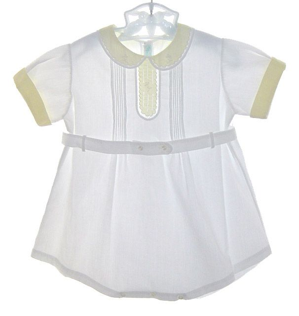 Heirloom 1930s White Romper With Yellow Embroidered Collar