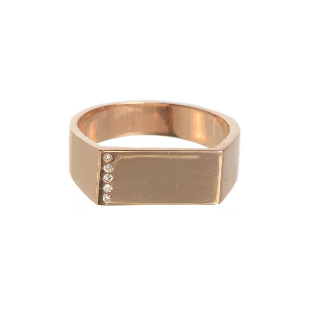 Renee sheppard k rose gold and pave diamond signet ring r s
