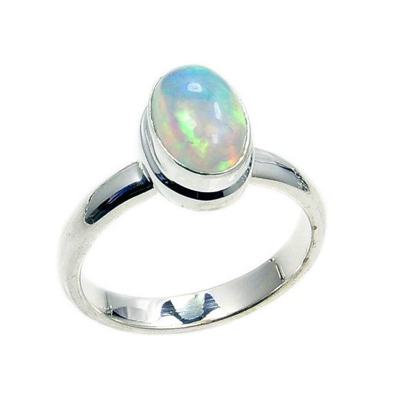 Fiery Ethiopian Opal & .925 Sterling Silver Ring by TheSilverPlaza