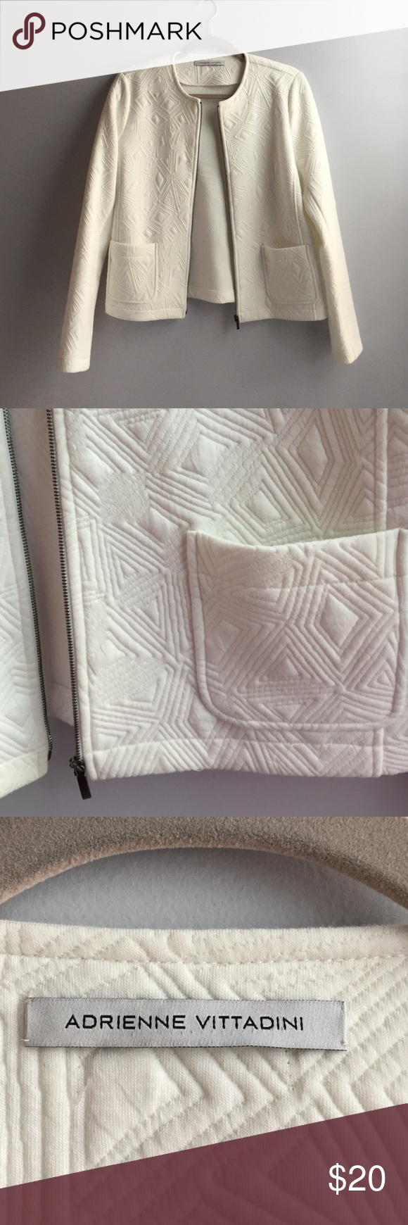 Adrienne Vittadini Textured Knit Jacket AV knit textured jacket with zip and pockets Adrienne Vittadini Jackets & Coats Blazers