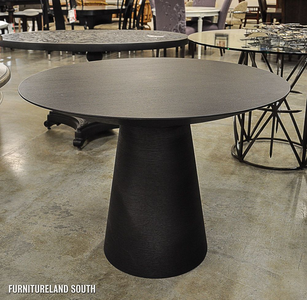 Nuevo Dania Black Stained Oak Round Dining Table Dania Dining