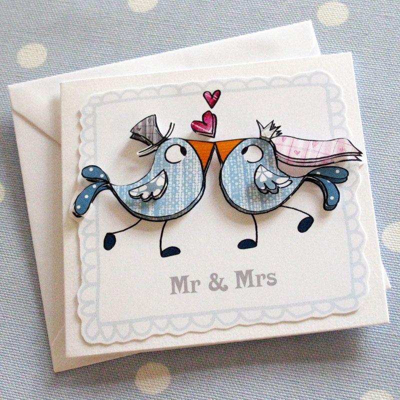 Cute Homemade Wedding Invitations Mr And Mrs Love Bird Card Littlebirdtoo Misi Handmade Shop Picture