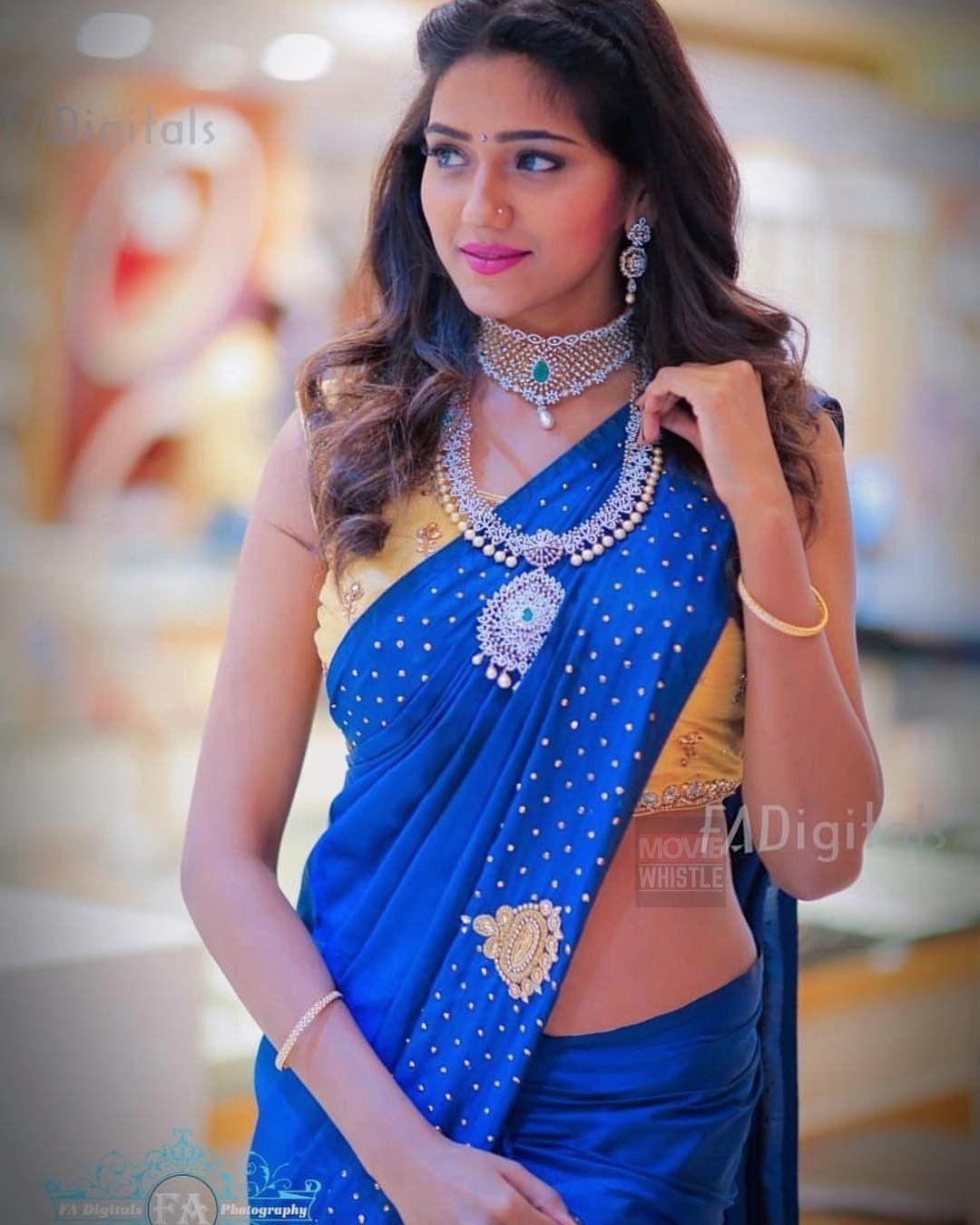 Shalu Chourasiya In A Dark Blue Color Saree With Buti